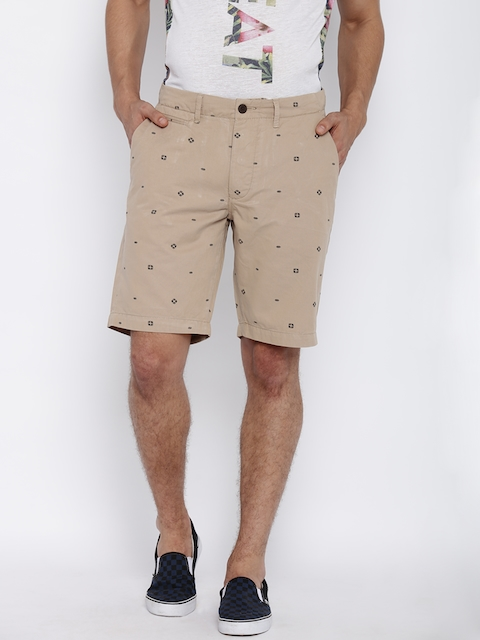 Jack & Jones Men Beige Printed Chino Shorts  available at myntra for Rs.997