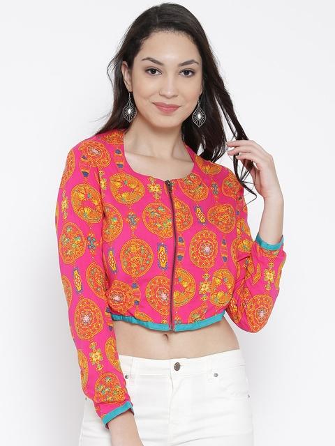 AKKRITI BY PANTALOONS Pink Printed Ethnic Crop Jacket