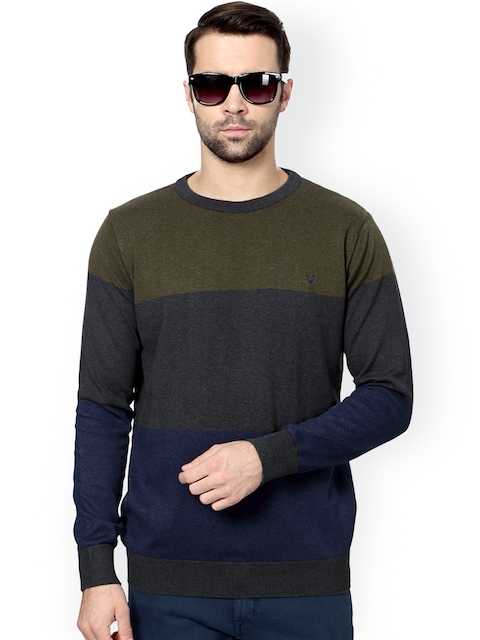 Solly Jeans Co. Men Grey & Navy Colourblocked Sweater