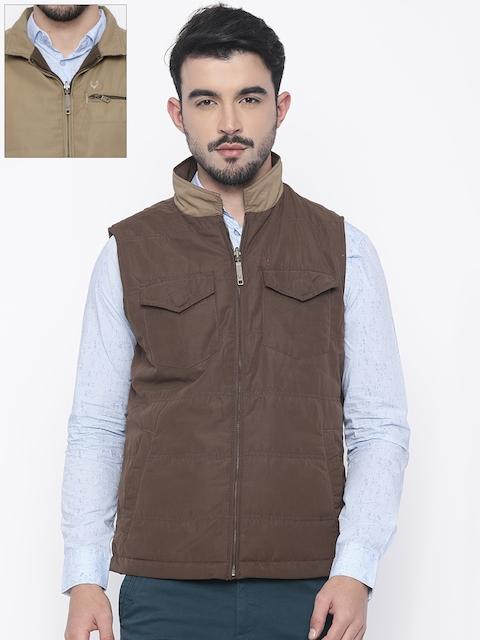 Allen Solly Men Brown Solid Reversible Padded Jacket
