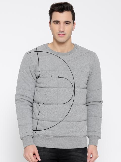 Puma Grey Melange Evo Graphic Printed Padded Sweatshirt