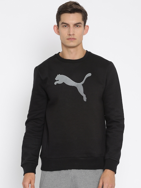 Puma Men Black Hero Crew FL Printed Sweatshirt