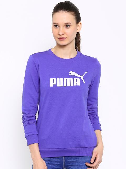Puma Women Purple ESS No.1 Crew TR Printed Sweatshirt