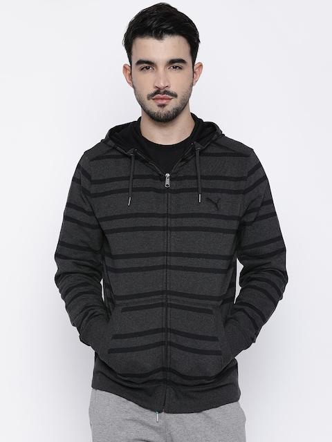 Puma Men Black Striped Hooded Front-Open Sweatshirt