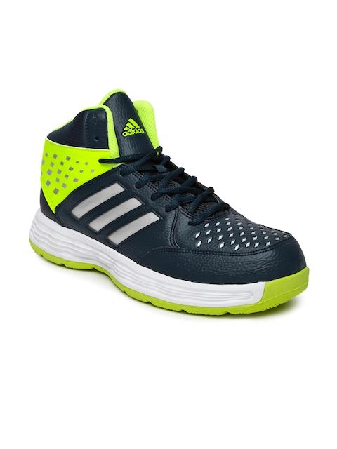 Adidas Men Navy and Fluroscent Green Mid-Top Basecut 16 Basketball Shoes