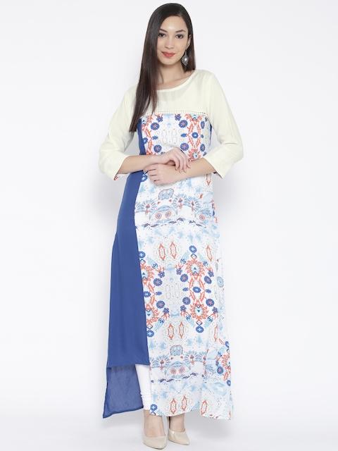 Jashn Women Blue & Off-White Crepe Printed A-Line Kurta