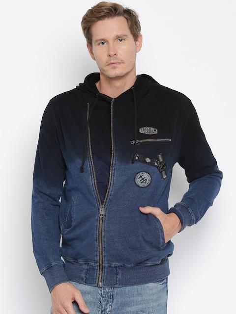 Harley-Davidson Navy Ombre-Dyed Hooded Slim Fit Sweatshirt