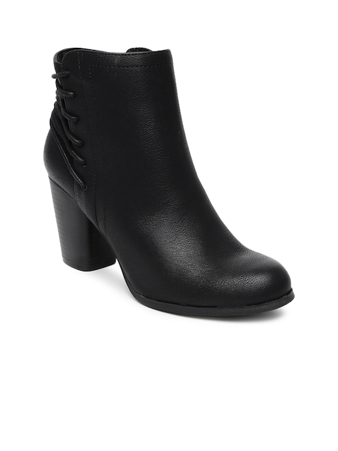 Steve Madden Women Black Heeled Boots  available at myntra for Rs.4499