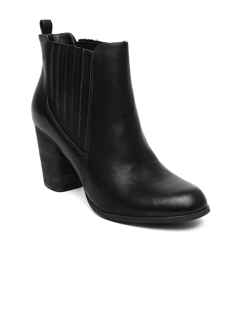 Steve Madden Women Black Heeled Boots  available at myntra for Rs.3599