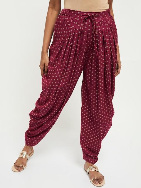 max Women Magenta Printed Pleated Jodhpuris Trousers