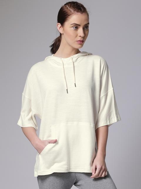 YWC Women Off-White Solid Hooded Sweatshirt