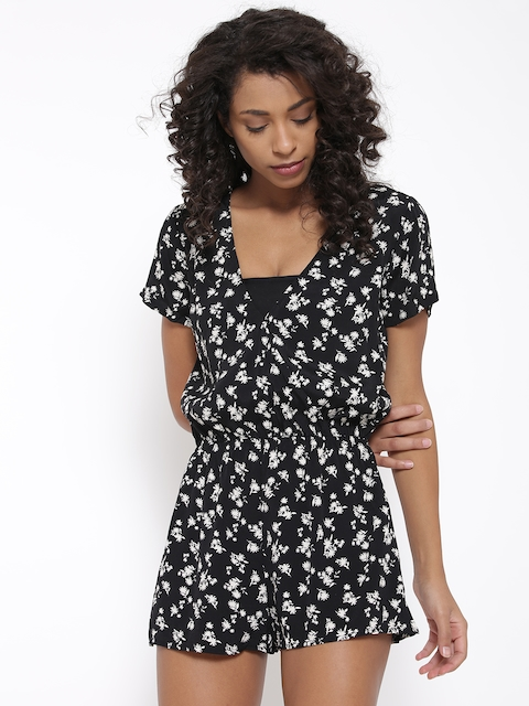 FOREVER 21 Black & Off-White Floral Print Playsuit