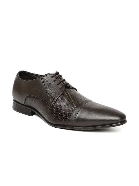 Bata Men Brown Jack Pointy-Toed Leather Perforated Derby Shoes