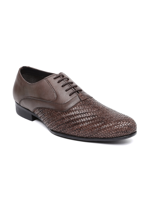 Bata Men Brown Basketweave Leather Semiformal Oxford Shoes