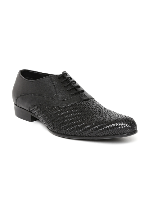 Bata Men Black Basketweave Leather Formal Shoes