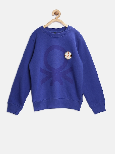 United Colors of Benetton Boys Blue Printed Sweatshirt