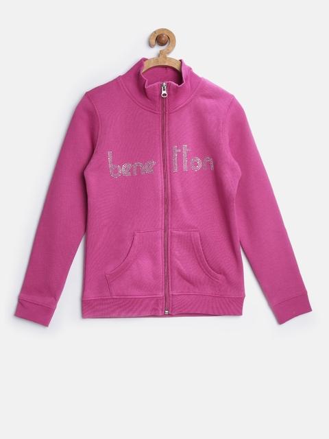 United Colors of Benetton Girls Pink Embellished Sweatshirt