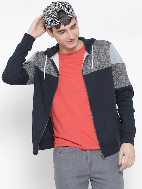 New Look Navy & Grey Melange Colourblocked Hooded Sweatshirt