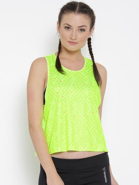 Reebok Women Fluorescent Green RE TRND Printed Running Top
