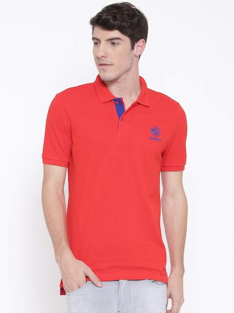 Reebok Classic Men Red Pique Solid Polo Collar T-shirt