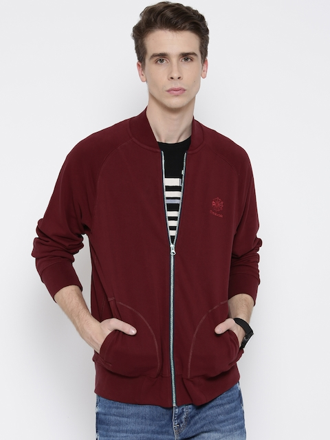 Reebok Men CC FT Tens Classic Maroon CC FT TENS Embroidered Bomber Jacket