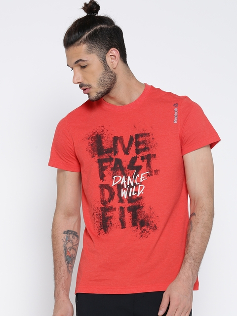 Reebok Men Red M'S Printed Round Neck Dance T-shirt