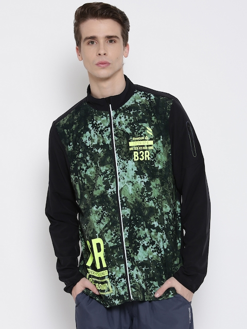 Reebok Black & Green OSR Wind Printed Slim Running Jacket