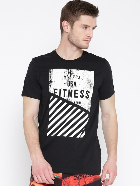 Reebok Men Black Fit Graphic Print Round Neck T-shirt