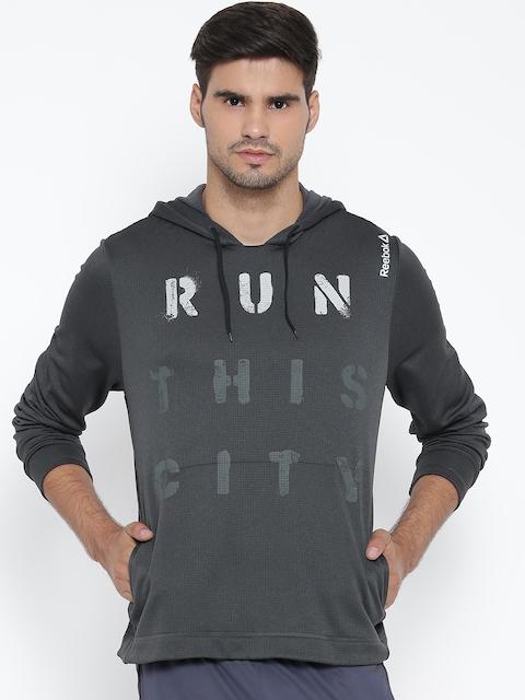 Reebok Grey RE Printed Hooded Running Sweatshirt