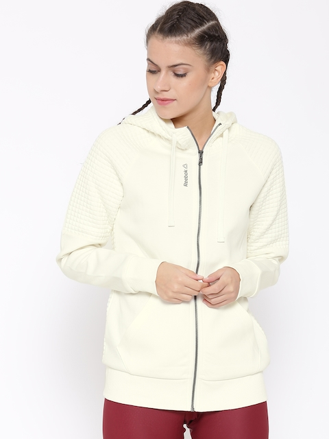 Reebok Off-White EL QUILTED FZ Slim Training Sweatshirt