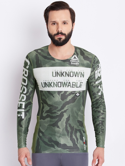 Reebok Men Olive Green Camouflage Print Round Neck Training T-shirt