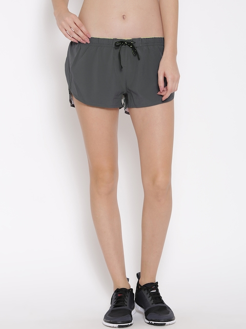 Reebok Women Grey OSR Board AOP Printed Slim Fit Running Shorts