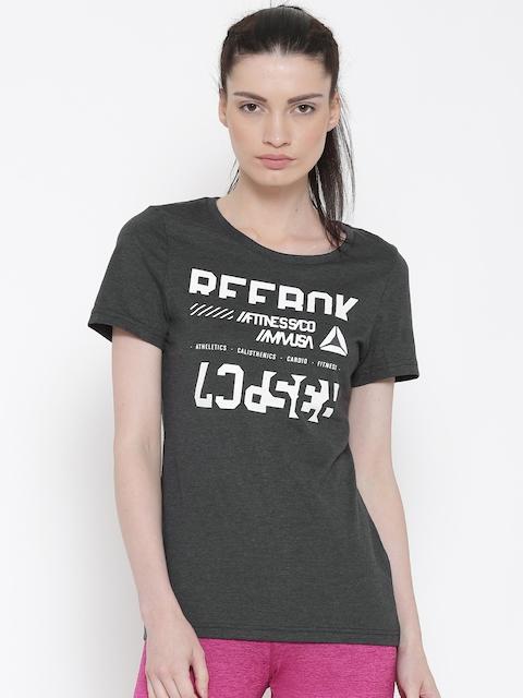 Reebok Women Charcoal Grey WOR CS Printed Round Neck T-shirt