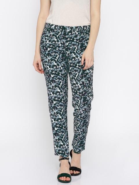 Van Heusen Woman Sea Green Printed Flat-Front Trousers