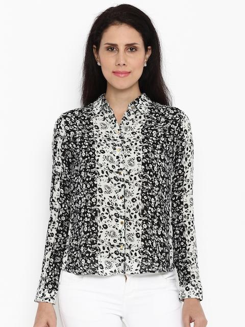 Van Heusen Woman Women Black Regular Fit Printed Casual Shirt
