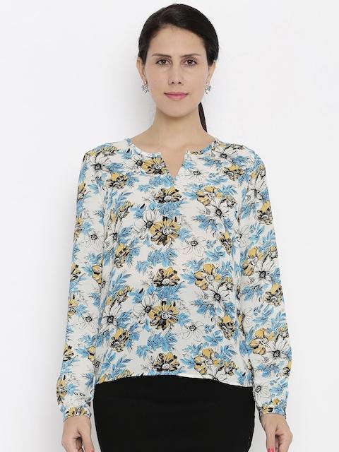 Van Heusen Woman Women White Printed Casual Shirt