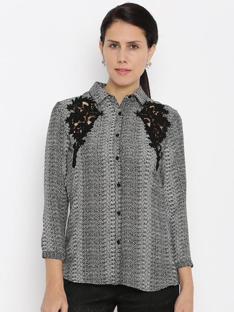 Van Heusen Woman Women Grey Self-Design Casual Shirt