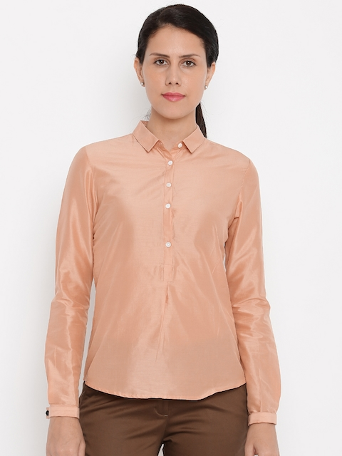 Van Heusen Woman Women Pink Solid Casual Shirt
