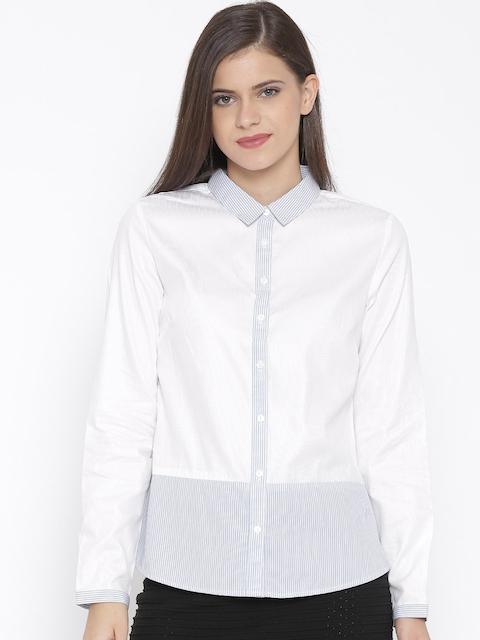 Van Heusen Woman White & Blue Striped Casual Shirt