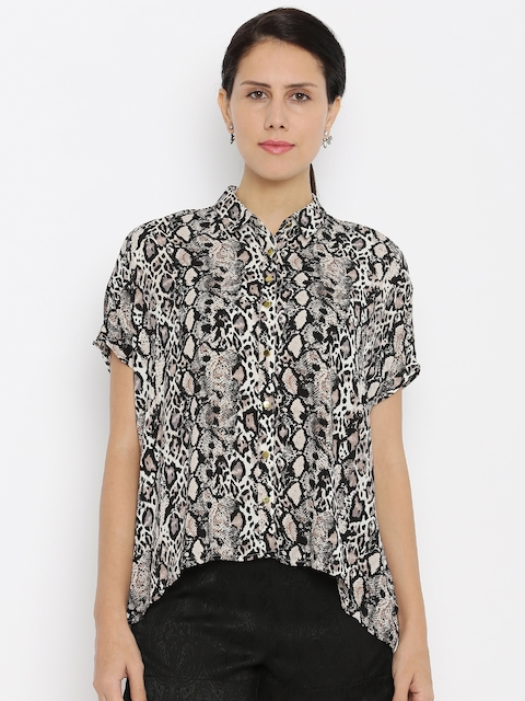 Van Heusen Woman Women Beige Printed Casual Shirt
