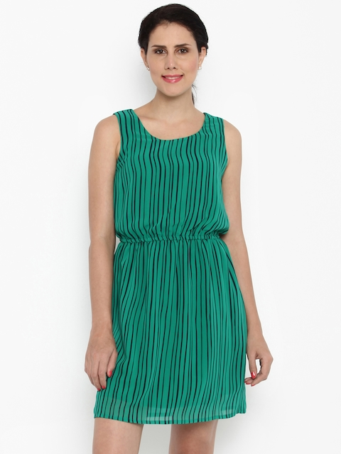 Van Heusen Woman Women Green Striped Fit & Flare Dress