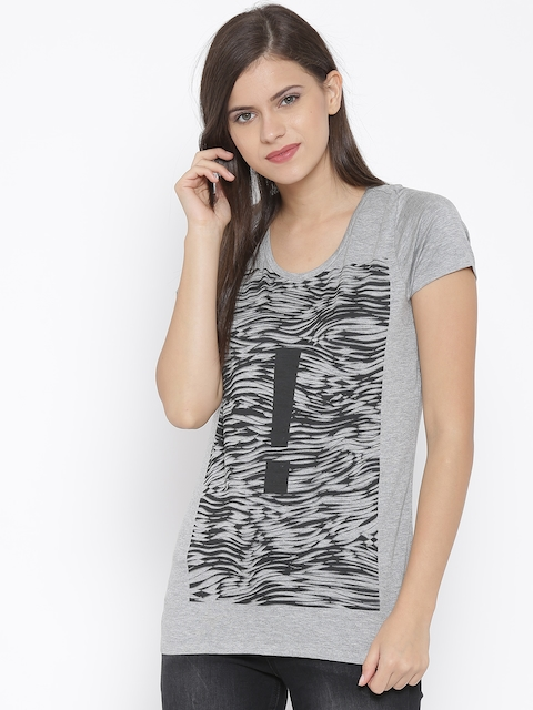 Van Heusen Woman Grey Melange Printed Round Neck T-Shirt