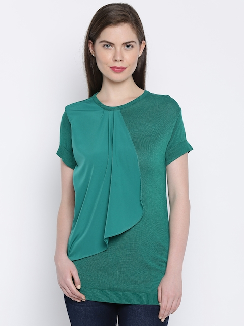 Van Heusen Woman Women Green Solid Regular Top