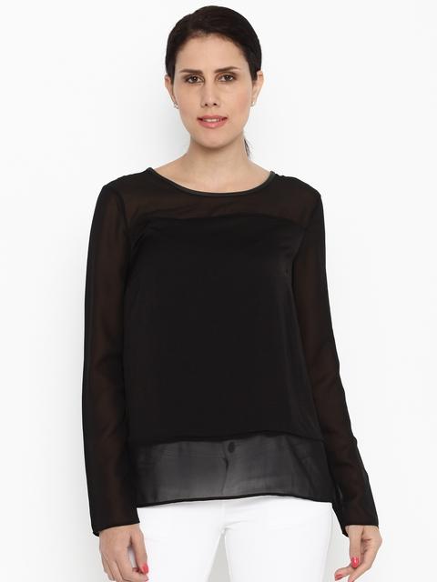 Van Heusen Woman Women Black Solid Sheer Top