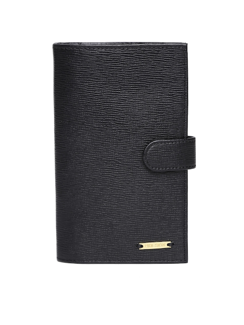 Hidesign Men Black Leather Passport Holder
