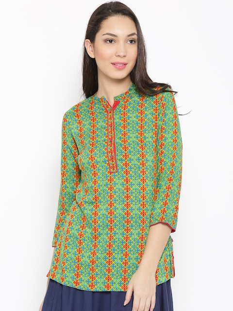 Biba Green & Red Printed Kurti  available at myntra for Rs.479