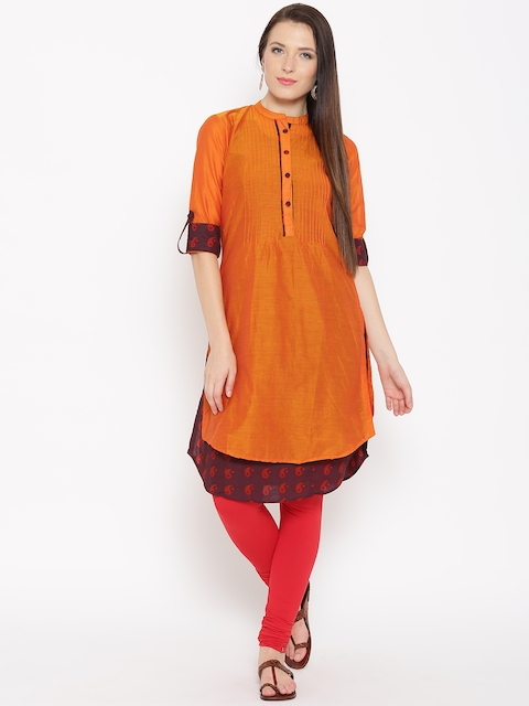 Biba Women Orange Layered Straight Kurta