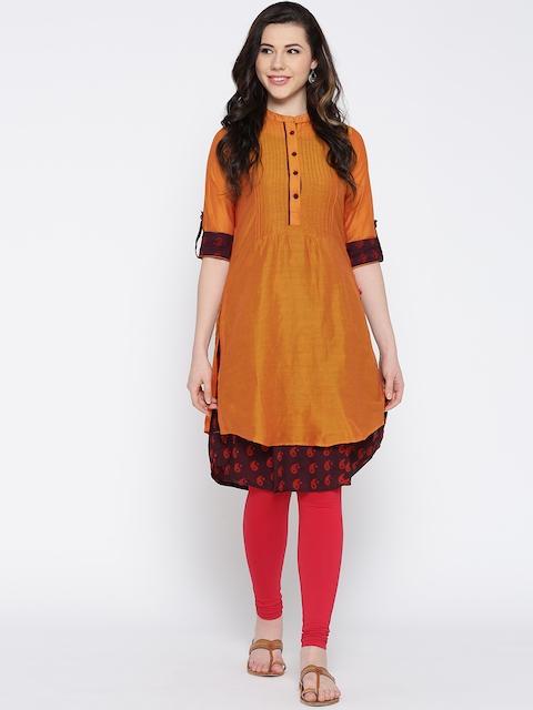 Biba Women Orange Layered Straight Kurta