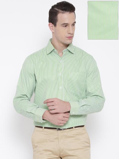 John Players Men Green & White Slim Fit Striped Formal Shirt