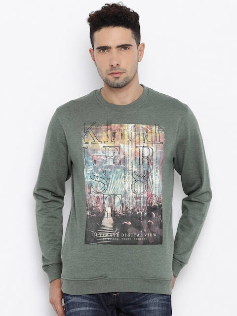 Killer Men Green Printed Pullover Sweatshirt